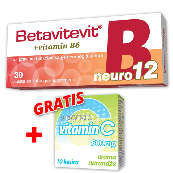 Betavitevit B12 Neuro + Gratis Vitamic C 500mg