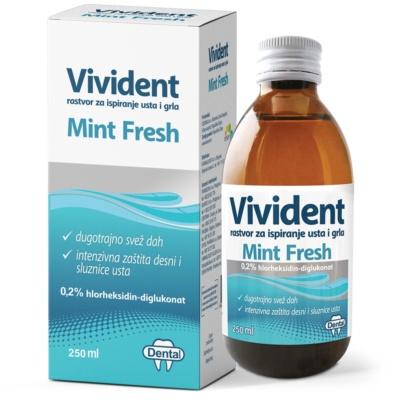 Vivident Mint fresh rastvor za  ispiranje usta i grla, 250ml