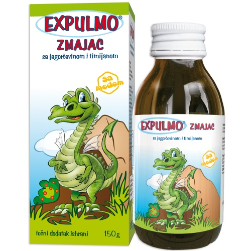 EXPULMO Zmajac сируп со јаглика и тимјан – помага во излачување на секретот на горните дишни патишта